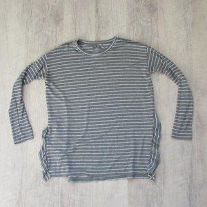 Aerie Gray & White Stripe Ruffle Just Add Leggings Top Sz Med